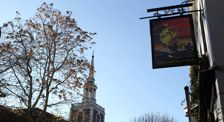 The Mayflower sign and St. Mary's church spire